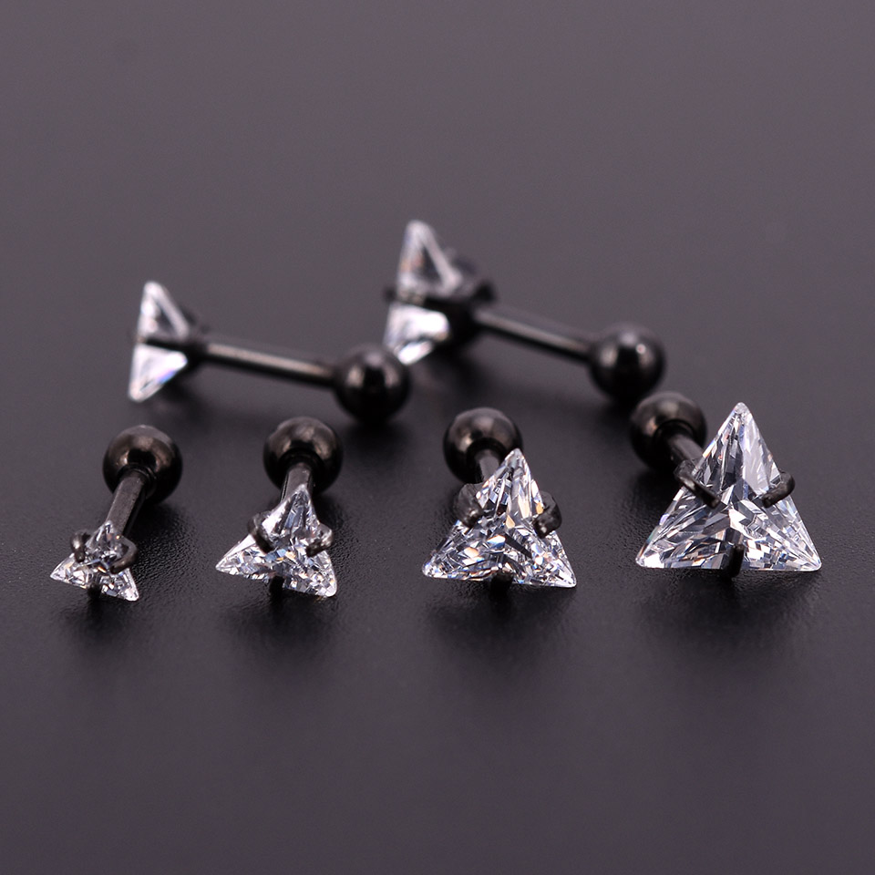 One Black Zircon Crystal Round Ball Tongue Lip Bar Ring Stainless Steel Barbell Ear Stud Body Piercing Jewelry