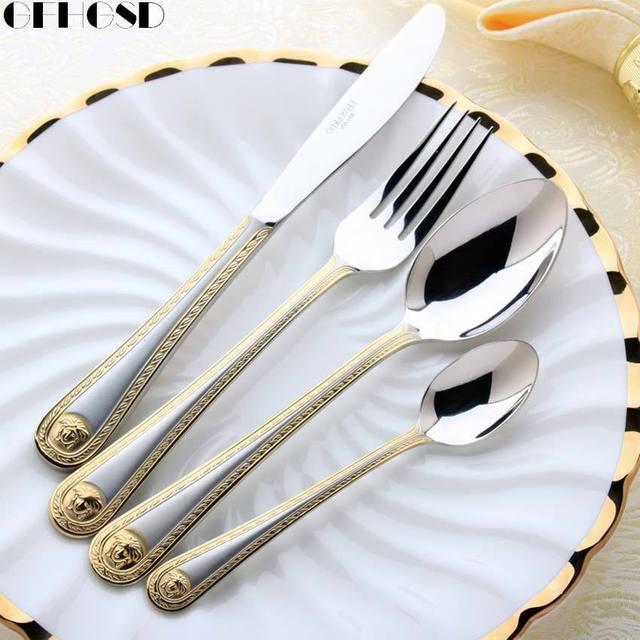 4 pcs/set Vintage Western Gold Plated Dinnerware Dinner Fork Knife Set Golden Cutlery Set & 4 pcs/set Vintage Western Gold Plated Dinnerware Dinner Fork Knife ...