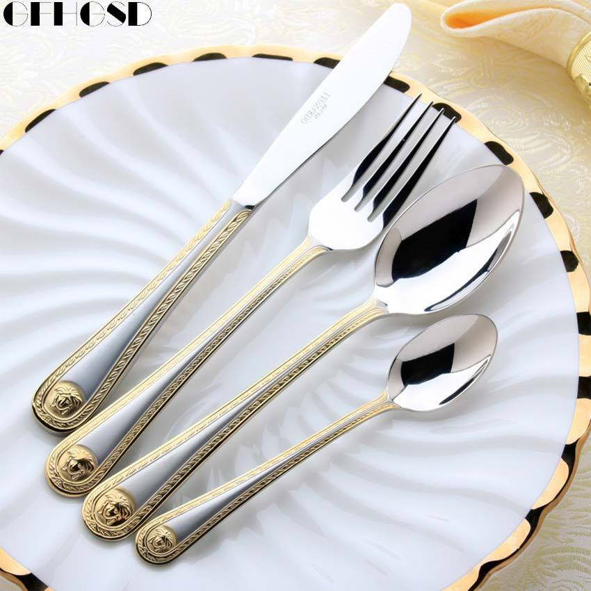 4 pcs/set Vintage Western Gold Plated Dinnerware Dinner Fork Knife Set Golden Cutlery Set Stainless Steel Engraving Tableware