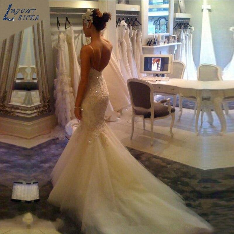WD0223 Роскошные свадебные платья Русалочки, сексуальное кружево аппликации, бисер, свадебные платья на тонких бретельках, на заказ