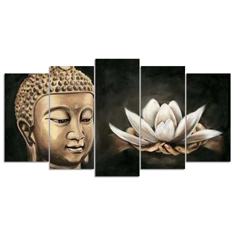 5d diy Diamantová výšivka Buddha a Lotus diamantová malba křížovým stehem drahokamu mozaika Multi-obrazová domácí dekorace