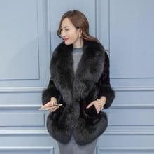 Elegant ladies luxury real natural mink fur coat with huge fox fur collar trim bride wedding cape design wearing women fur coats
