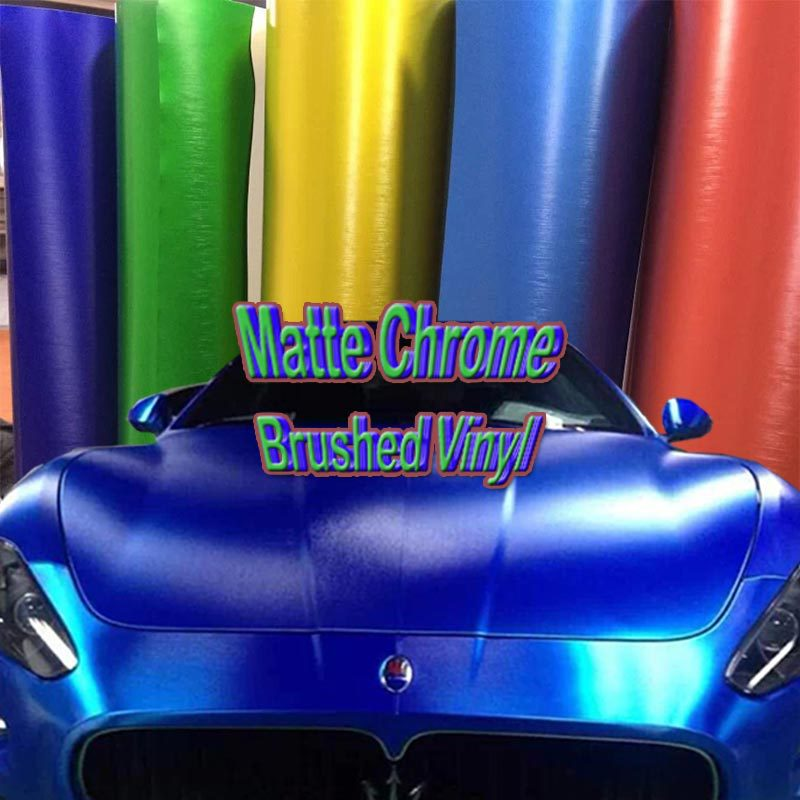 Brushed Chrome Matte Chrome Vinyl Car Wrap Film Auto Body Sticker With Air Channel Wholesale FedEx Free Shipping 1.52*20m/roll quality guarantee silver chrome vinyl film for car wrapping sticker with air bubble free 20m roll