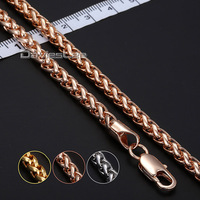 18 36inch Optional 5mm Wheat Rose Gold Filled GF Necklace Bulk Sale Mens Chain Boys Jewelry