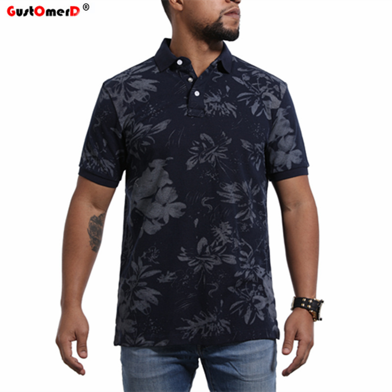 GustOmerD 2018 New Men's   Polo   shirt Brand Men black Contrast color   Polo   Shirts Summer Casual Floral   Polo   Shirts Men
