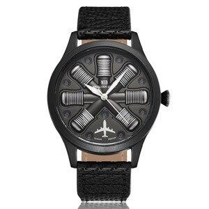 Image 2 - גברים שעון מטוס מנוע חקוק גברים של חיוג גדול זכר יד שעונים B uhr פיילוט ספורט שעוני יד Reloj טייס Mens שעון