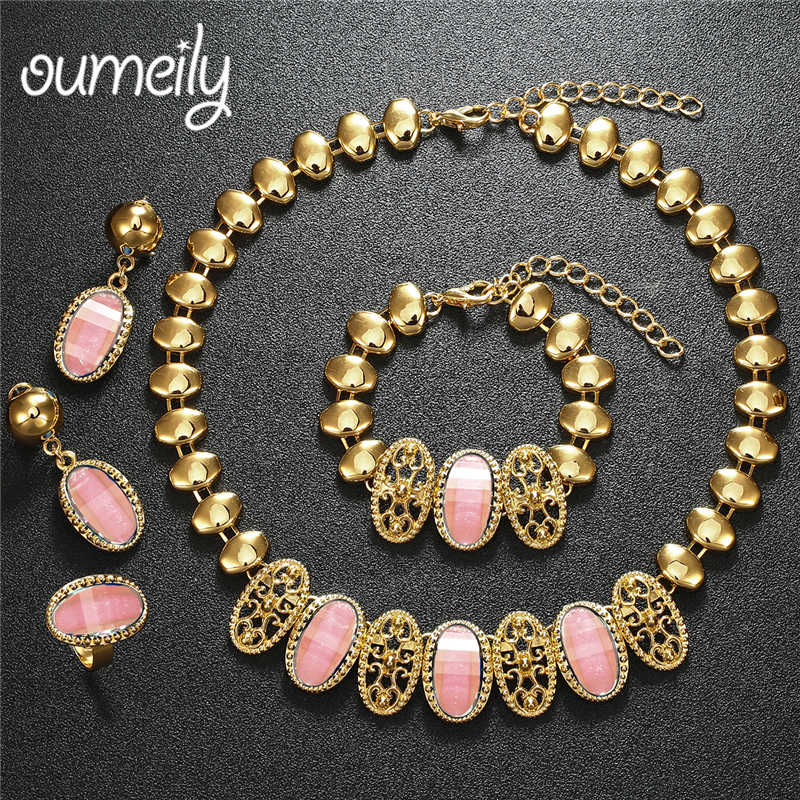 OUMEILY Turkish Jewellery Set Elegant Ladies Pink Imitation Crystal Indian Dubai Bridal Jewelry Sets Nigerian African Jewelry