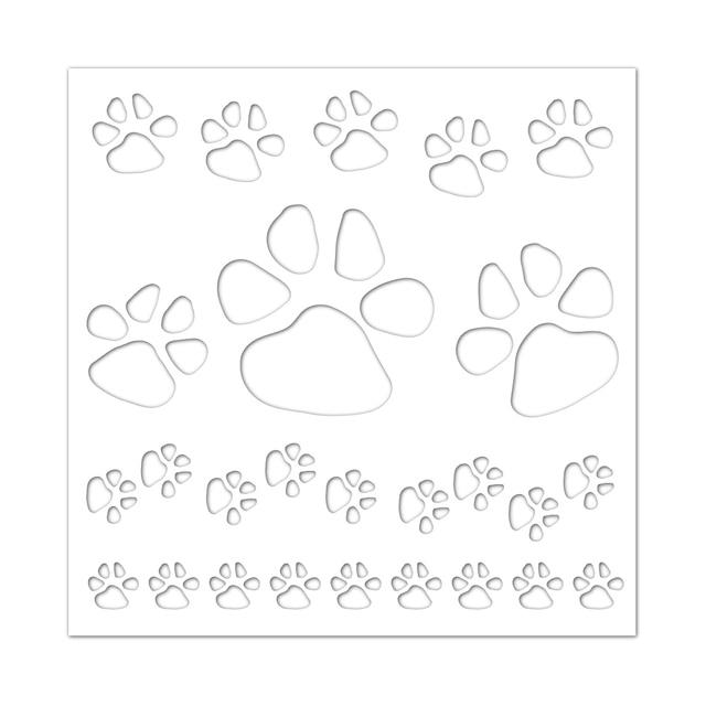 6x6inch Dog Paw Plastic Draw Stencil For Diy Scrapbooking Decorative