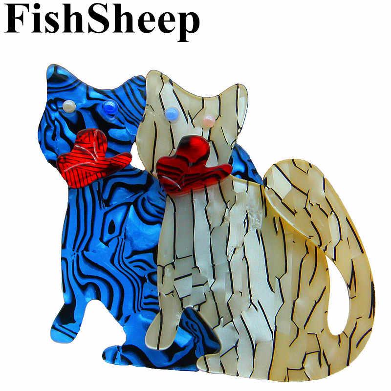 FishSheep Baru Acrylic Lucu Kucing Bros Dan Pins Wanita Wanita Resin Ganda Kucing Bros Broches Scarf Lencana Aksesoris Hadiah