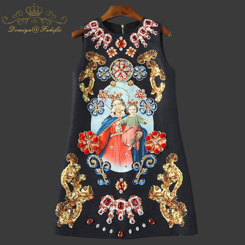 2018 Hot Fashion Designer Runway Summer Dress Women Sleeveless Crystal Button Sequin Beading Elegant Short Dress Family Clothing наклейки new style 100mmx1520mm diy