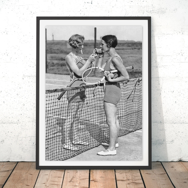 Tennis Poster Canvas Art Print Women Smoking Vintage Photography