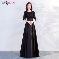 Long Black Evening Dresses 2019 Formal Chiffon Lace Half Sleeve Party Gowns with Ruffles Sexy A line Wedding Guest Gowns ES1294
