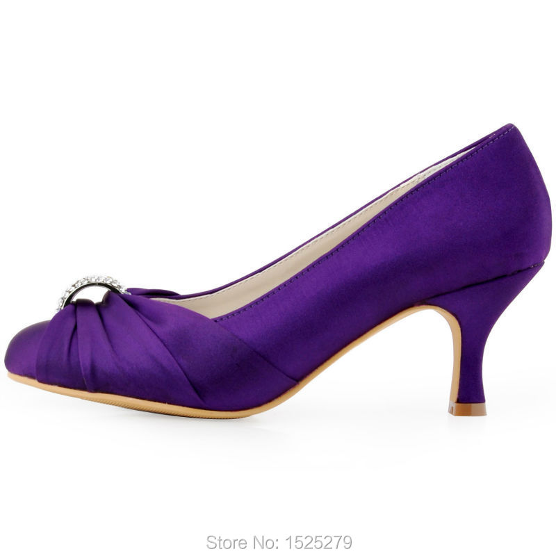 HC1526 Purple Women Shoes Closed Toe Spool Low Heel Bride Ladies  Bridesmaids Rhinestone Satin Bridal Evening Party Wedding Shoes-in Women s  Pumps from Shoes ... 33d530b54a91