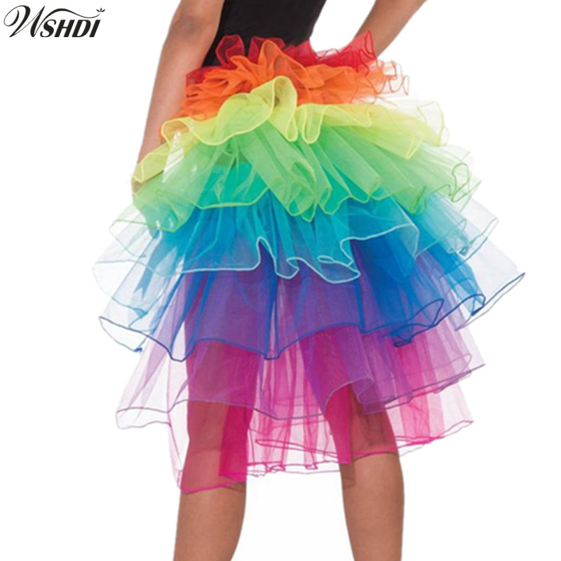 2018 NEW Design Unique Colorful Dancing Tutu Skirt Women Layered Polyester Lace Up Rainbow Skirt Halloween Party Clown Skirt