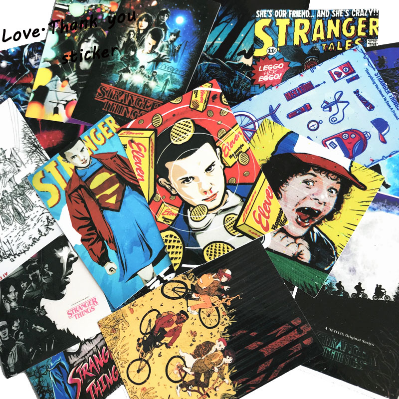 18pcs/lot American Movie Stranger Things Stickers For Notebook Trolley Case Backpack Table PVC Car DIY Cool Skateboard Decals