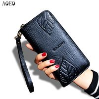 AOEO Ladies Embossing Wallet Female With Genuine Leather Wristlet Card Id Holders Money Purse For Womens