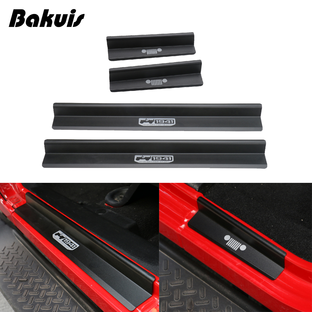 for Jeep Wrangler JK 2007-2017 Door Sill Plate Entry Guards Protector Trim
