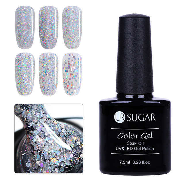 UR SUGAR 7.5ml Nail Gel Polish Soak Off UV Silver Holographic Gel Laser  Sequins Sparkle Varnish Gel Nail Art Manicure Lacquer d63718f196c3