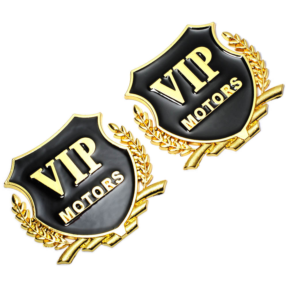 2pcs/Lot 3D Logo VIP MOTORS Metal Car Chrome Emblem Badge Decal Door Window Body Auto Decor DIY Sticker Car Decoration Styling держатель runair 150мм пластик белый