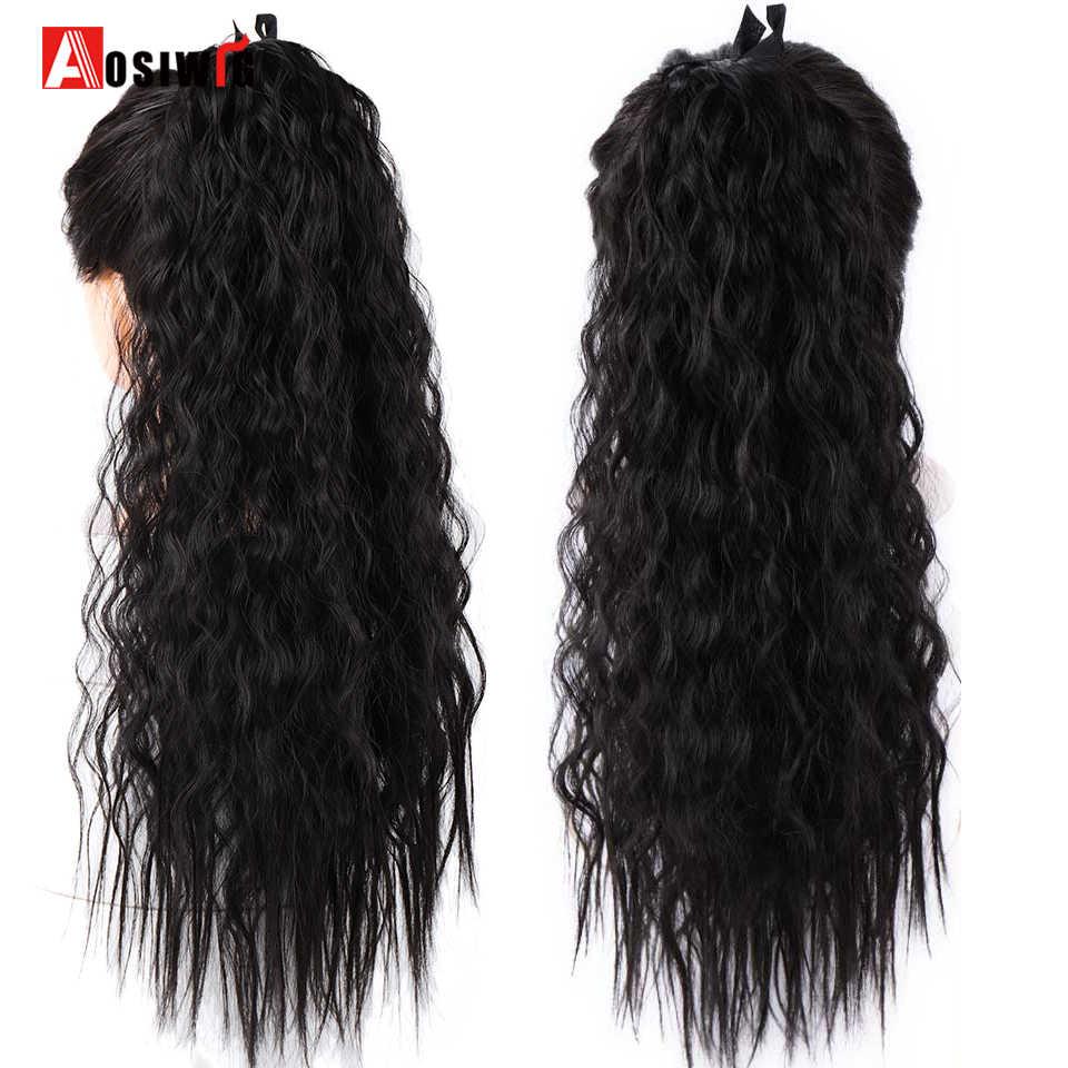 Aosiwig longo kinky encaracolado rabo de cavalo fibra de alta temperatura sintético cordão envoltório em torno da extensão da cauda do cabelo falso peças do cabelo