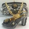 Zapatos Con los Bolsos que Emparejan Wedding Set Mujer Bombas Zapatos Mujeres Zapatos Y Bolsa de Conjunto de Alta Calidad de La Manera Africana ME3311