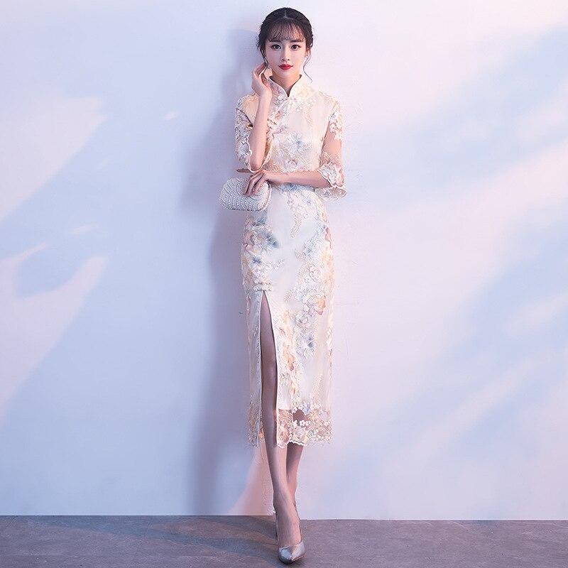 New Female Flower Wedding Dress Classic Women Lace Qipao Traditional Mandarin Collar Party Gowns Elegant Cheongsam