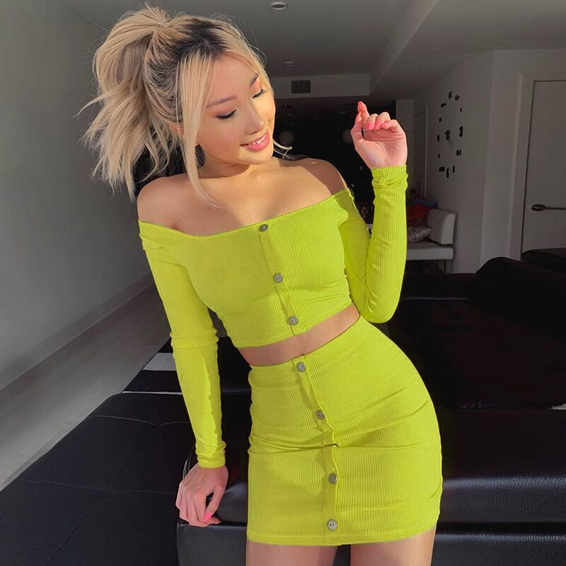 Cryptographic Fashion Outfits Bright Orange Women's Sets Buttons Long Sleeve Crop Tops Sexy Two Pieces Set Casual Bodycon Skirts 14