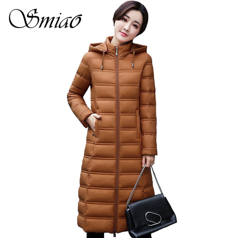 Smiao 2017 Autumn Winter Women's Coat  Plus Size Cotton Long Female Overcoat Warm Thick Women Jacket Hooded Women Parkas 4XL fitaylor winter jacket women coats plus size thick cotton coat hooded parkas women winter coat warm long 3xl 4xl 5xl overcoat