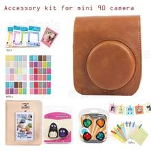 Accessory Kit PU Leather Camera Case, Album, Selfie/Color lens, Frame, Sticker For Fujifilm Instax Mini 90 Instant Film Camera