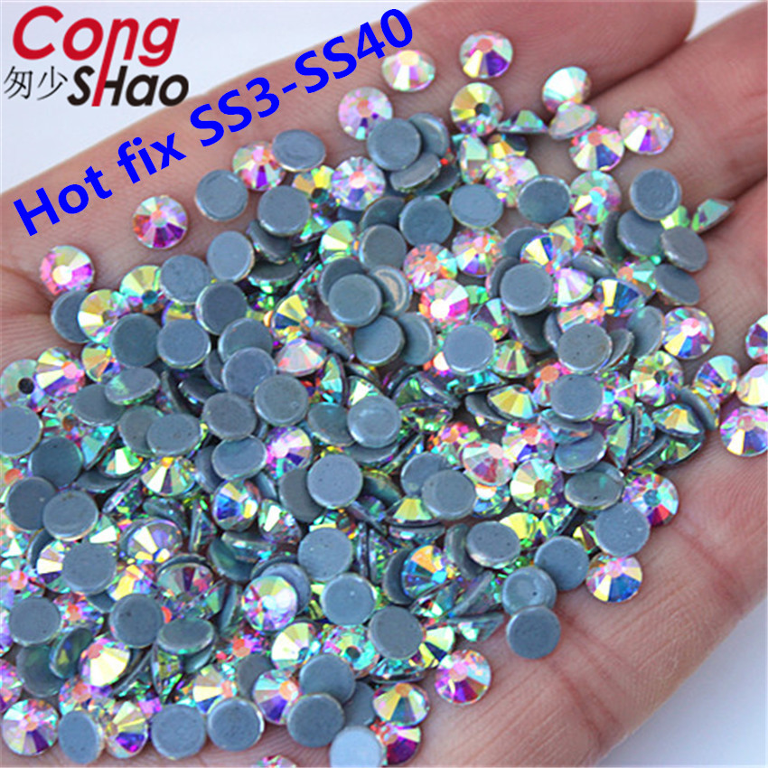 Cong Shao High Quality SS3-SS40 DMC Crystal AB Hot back Glass Stones Hot fix  Rhinestones Iron On Rhinestones For Clothes WC996 1551f9e6a4ca