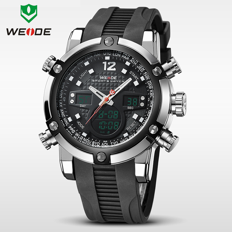 WEIDE Luxury Brand Watches Men Military Quartz Sports Watch Multifunction Rubber Waterproof Analog Digital Casual Wristwatches цена