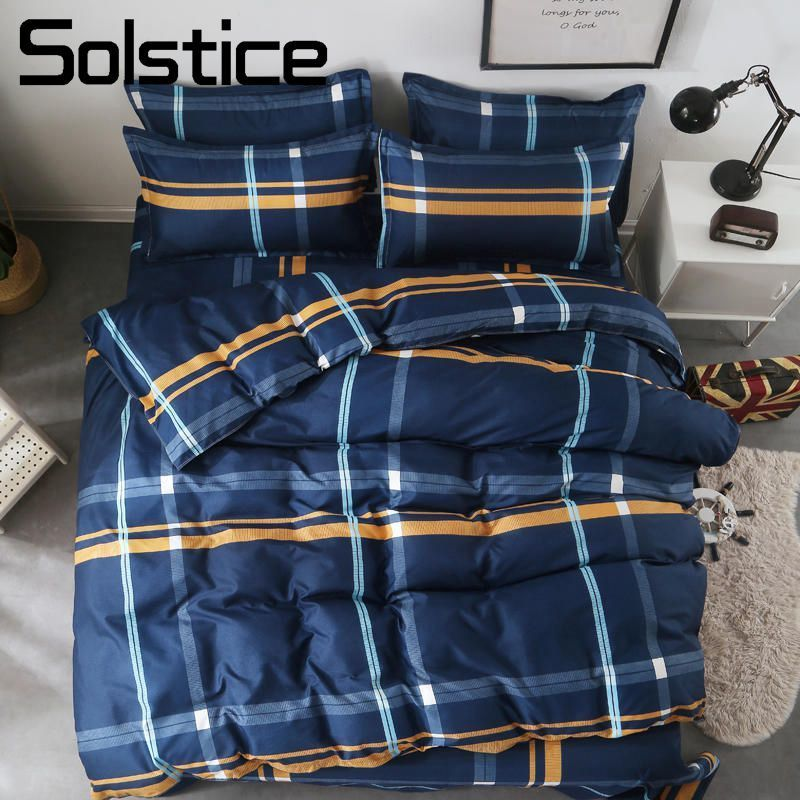 Solstice Home Textile Twin Full Queen King Bed Linen Set Boy Kid Adult Girl Bedding Suit Plaid Blue Duvet Cover Sheet Pillowcase