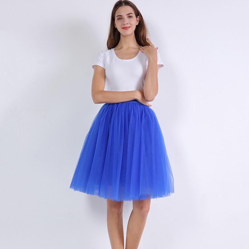 5 Layers 60cm Princess Midi Tulle Skirt Pleated Dance Tutu Skirts Womens Lolita Petticoat Jupe Saia faldas Party Puffy Skirts 26