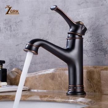 ZGRK Basin Faucets Black Bronze Brass Bathroom Faucet Single Handle Bath Sink Cold Hot Water Mixer Tap torneiras