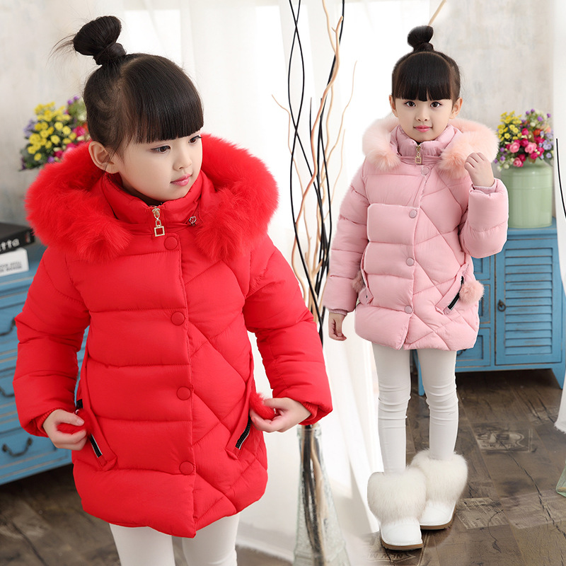 Thicken Fashion Hooded Children Jacket Baby Girls Winter Coats Girl Warm Baby Jacket Solid Color Red Pink OuterwearThicken Fashion Hooded Children Jacket Baby Girls Winter Coats Girl Warm Baby Jacket Solid Color Red Pink Outerwear