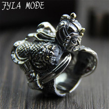 100% Sterling Silver Unique shoo in Zhao Zi long Antique Silver Men's Finger Ring Retro S925 Silver Jewelry 32MM Width 34.50G