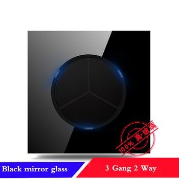 EU France Germany UK socket Full set of 86 type 1 2 3 4 gang 1 2way black mirror glass wall switch LED light switch Industry 20