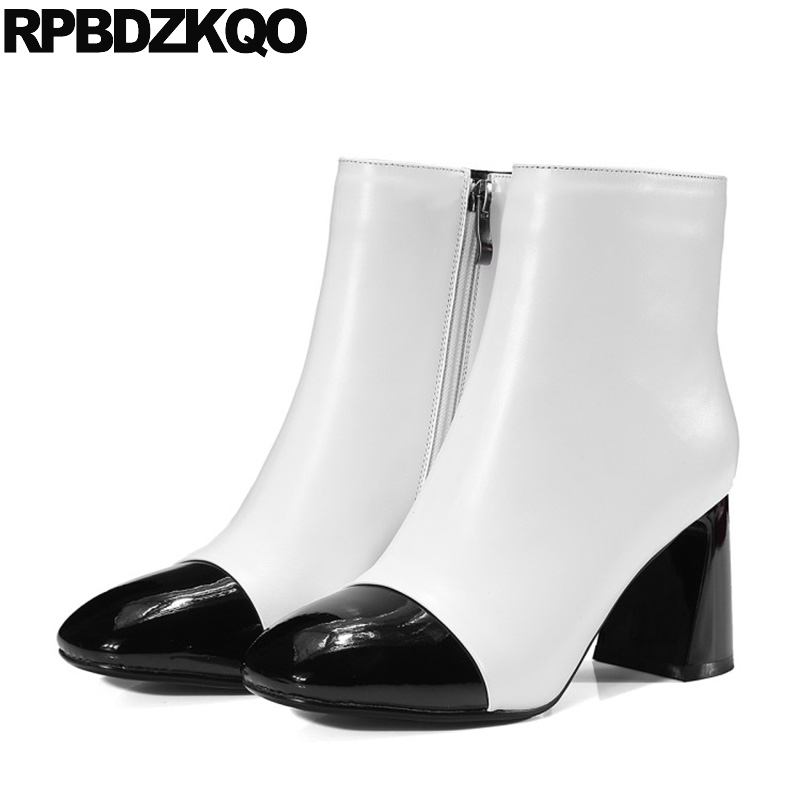 Shoes Side Zip Boots Luxury Autumn Chunky Black And White Ankle Booties 2017 Patent Leather Genuine High Heel European Short elegant beige high heel 2017 booties autumn chunky metal genuine leather luxury brand shoes women boots short ankle pointed toe