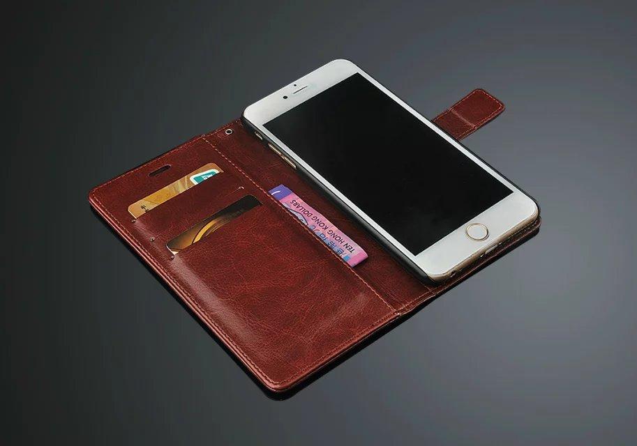 Lyxig PU-läder Flip Wallet-telefonväska för Apple IPhone 6 6S Plus - Reservdelar och tillbehör för mobiltelefoner - Foto 4
