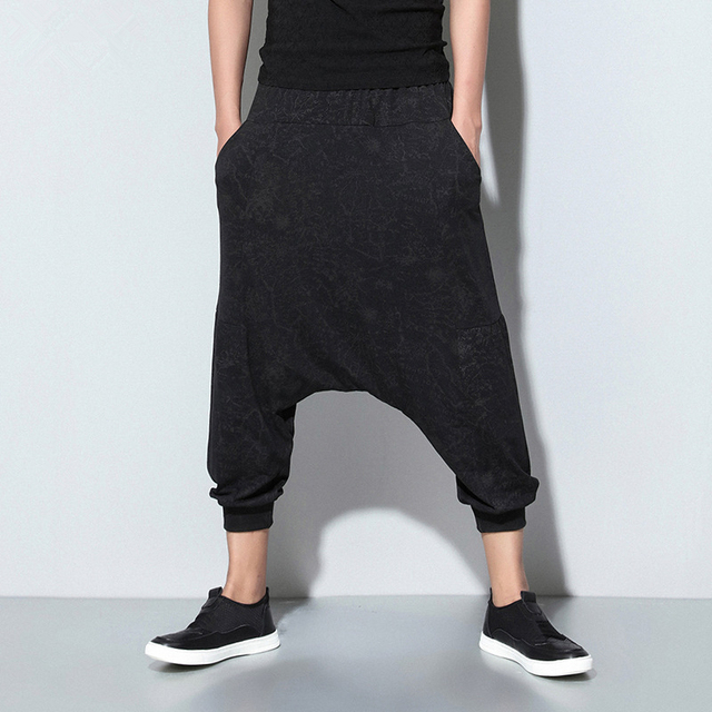 038# summer new elastic waist men's casual pants  nine loose pants Haren men's Hip Hop Pants wholesale