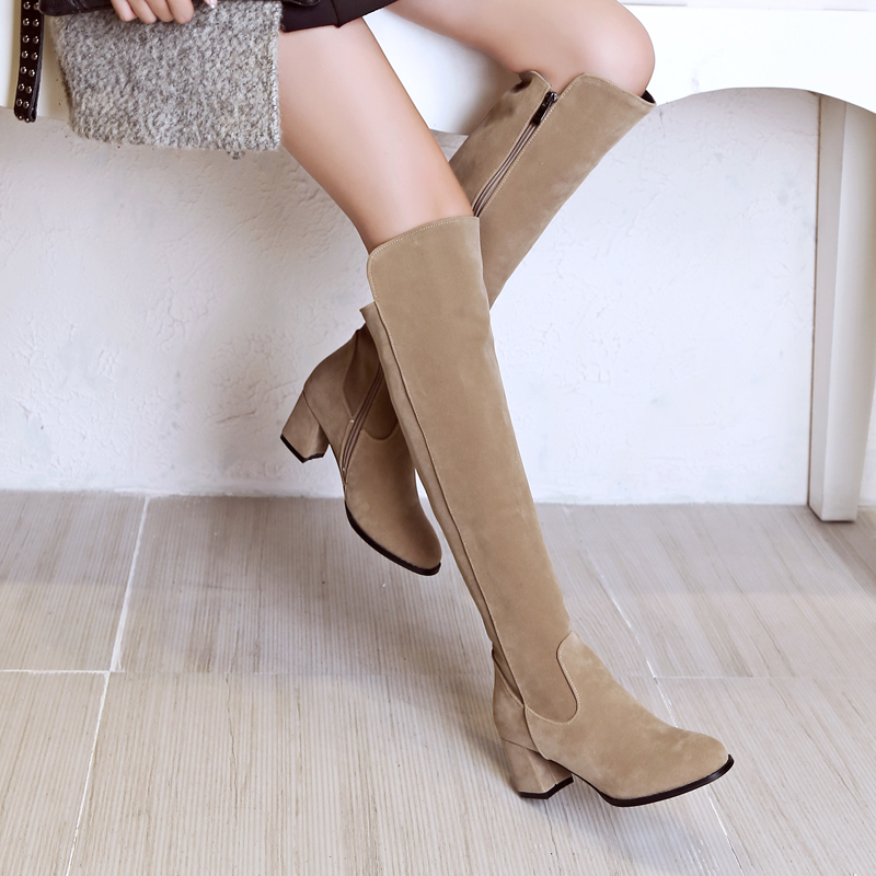 ФОТО New Fashion Women Knee-High Boots Nice Round Toe Square Heels Boots Black Beige Wine Red Shoes Woman Plus US Size 4-16