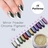 2g New Arrival Silver Gold Chrome Mirror Powder For Mirror Nails Mirror Effect Powder Pigment Use