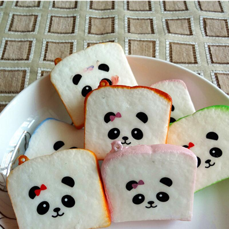 Kawaii Sliced Bread Soft Toast Phone Straps Rilakkuma Printed Lanyard Car Key Rings Strap Key Rings