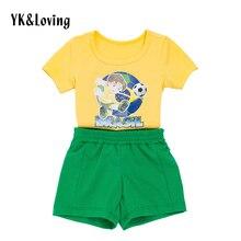 Brésil Football Bébé Garçon Vêtements Manches Courtes t-shirt + pantalon Brasil futebol Garçons Enfants Vêtements Set COUPE DU Monde