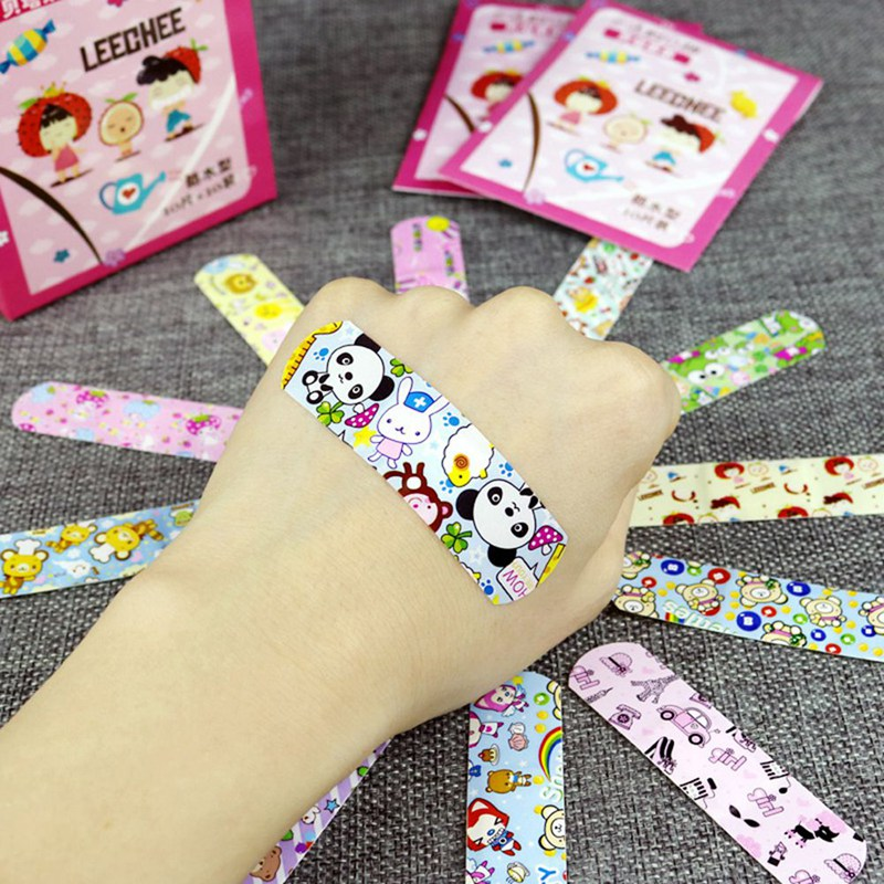 100PCs Waterproof Breathable Cute Cartoon Band Aid Hemostasis Adhesive Bandages First Aid Emergency Kit For Kids Children Baby