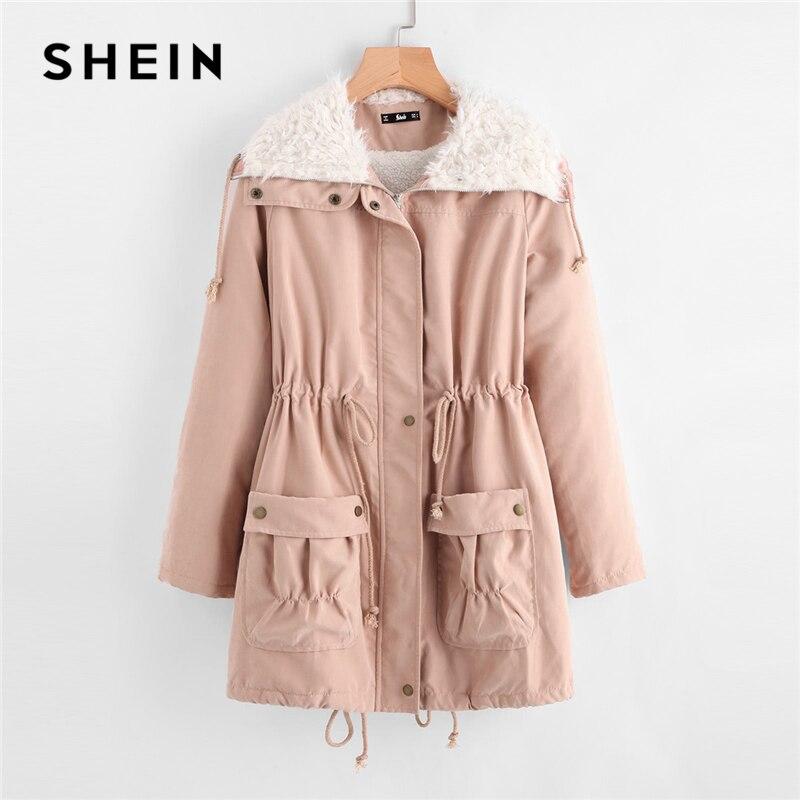 Шеин розовый с флисовой подкладкой карман спереди на завязках парка пальто опрятный молнии длинное пальто Для женщин плотная зимняя одежда...