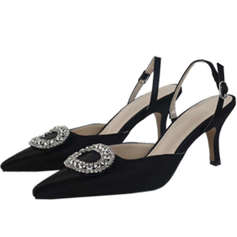 Yaz yeni stiletto sivri yüksek topuk imitasyon toka sandalet saten kore versiyonu vahşi Baotou kadın serin ayakkabı