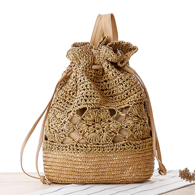 Drawstring Female Backpack Woven Straw Beach Bags Women Hollow Out Designer Summer Women Backpack Fashion 2017 Ladies Bag Flower