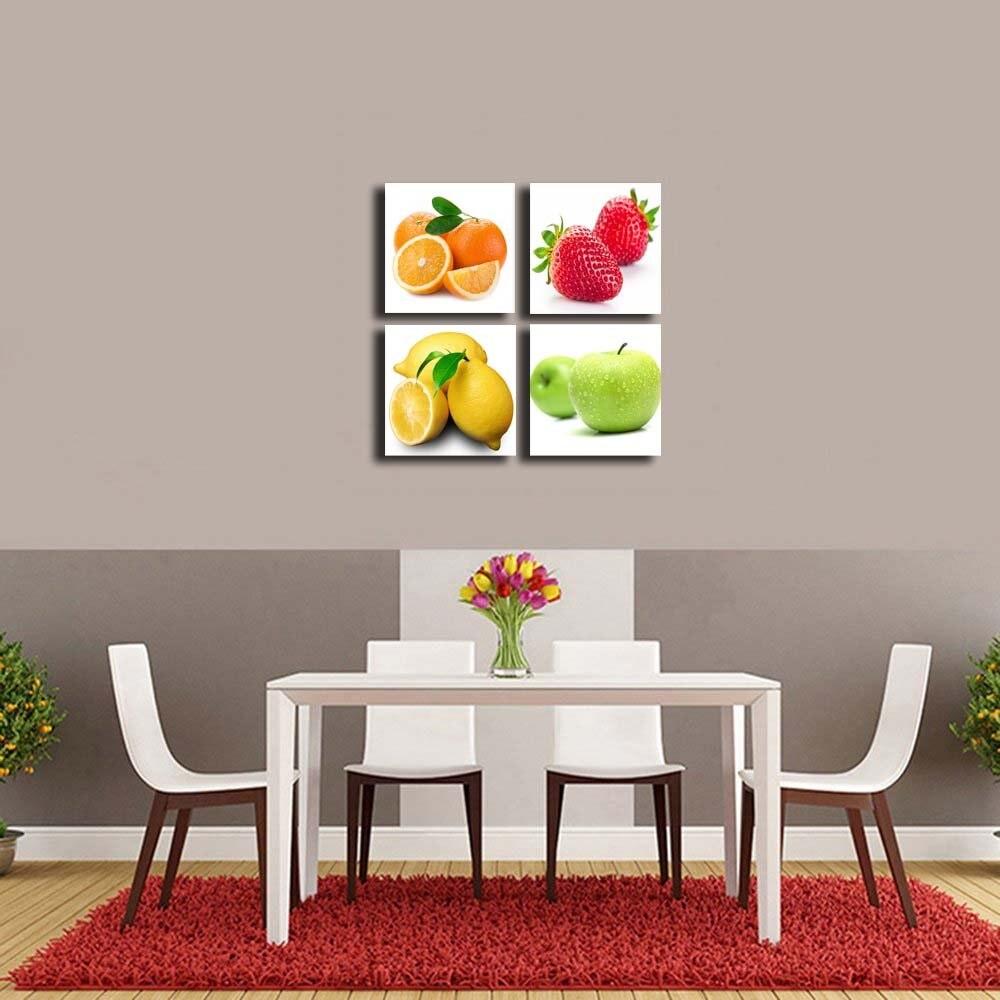 4 ชิ้น/เซ็ตยืดและกรอบส้ม, แอปเปิ้ล, มะนาว, ผลไม้สตรอเบอร์รี่ออกแบบผนังภาพวาด Drop shipping-ใน การระบายสีและการประดิษฐ์ตัวอักษร จาก บ้านและสวน บน   3