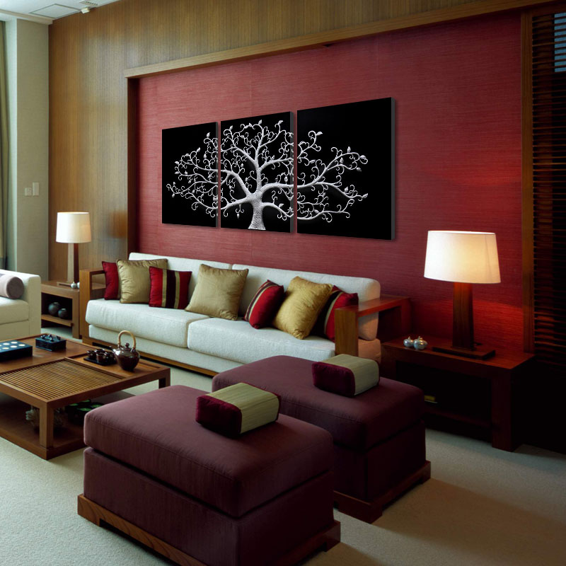 3 piece Wall Abstract Metal Wall Art Tree Canvas Print Tree ... c9af617ed6
